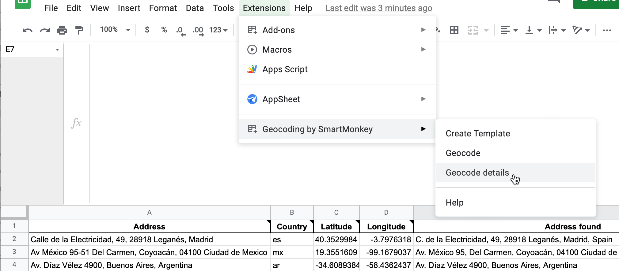 Select Add-ons–Geocoding by SmartMonkey–Geocode Details to display sample data with results for three new columns: Latitude, Longitude, and Address found.