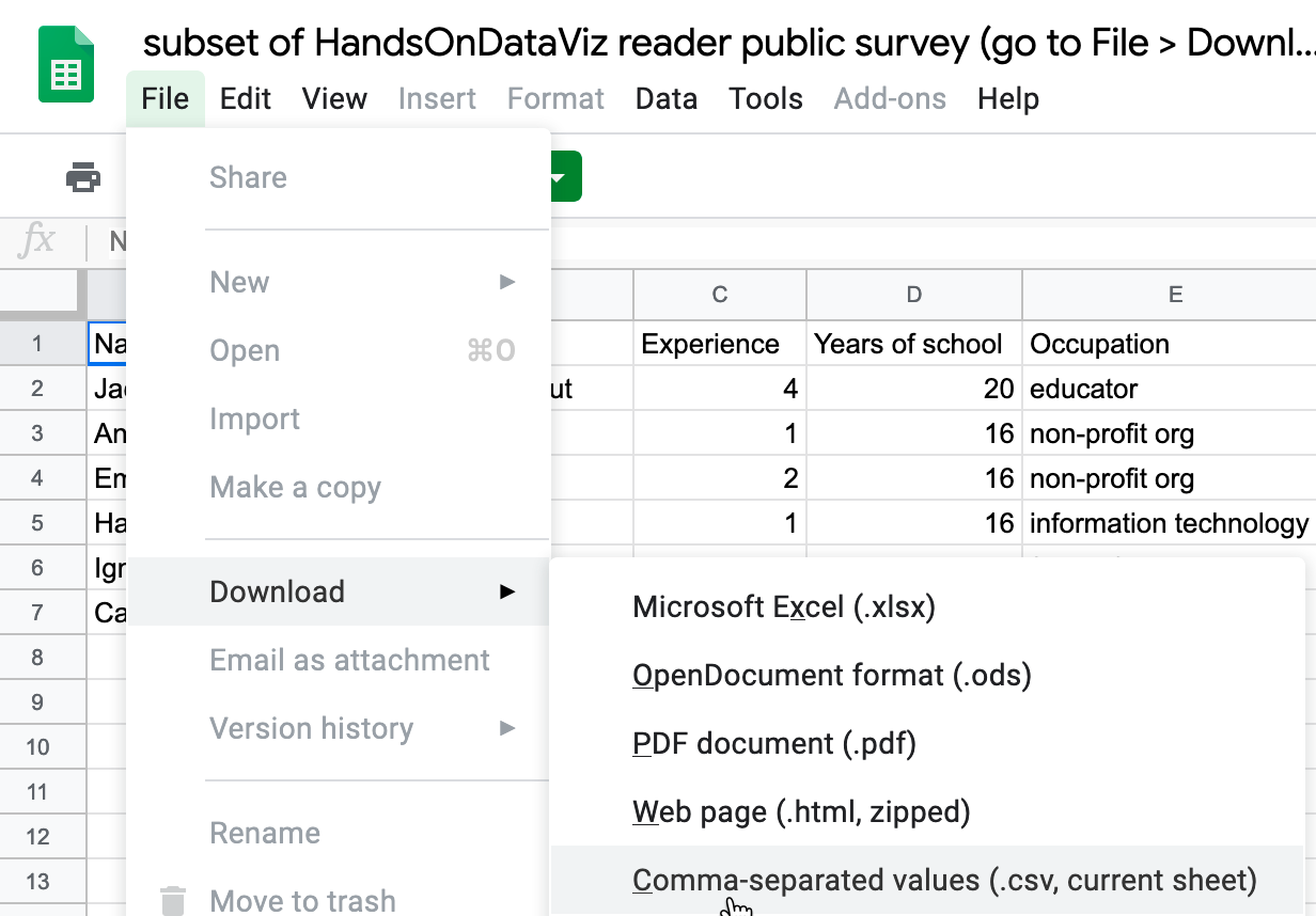In Google Sheets, go to File - Download As to export data in several common formats.