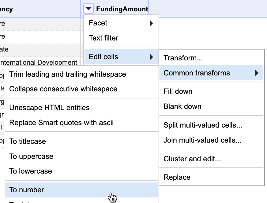 In the FundingAmount column menu, select Edit cells - Common transforms - To number.