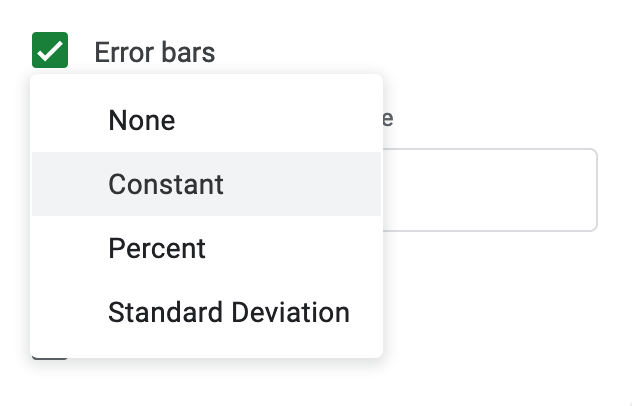 Google Sheets has limited settings to create error bars.