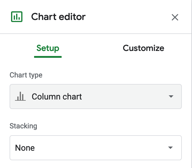 Change the default to Column chart, with Stacking none.