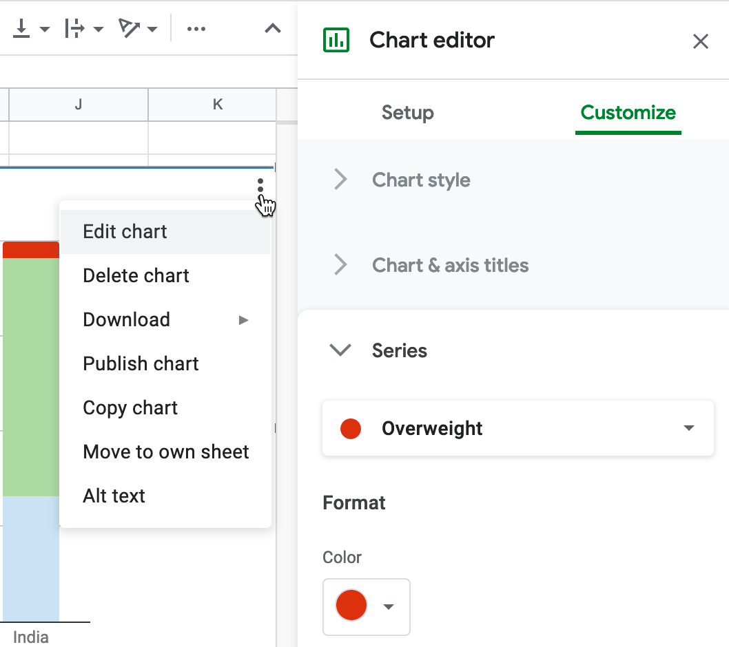 To edit a column color, select Edit Chart - Customize - Series.