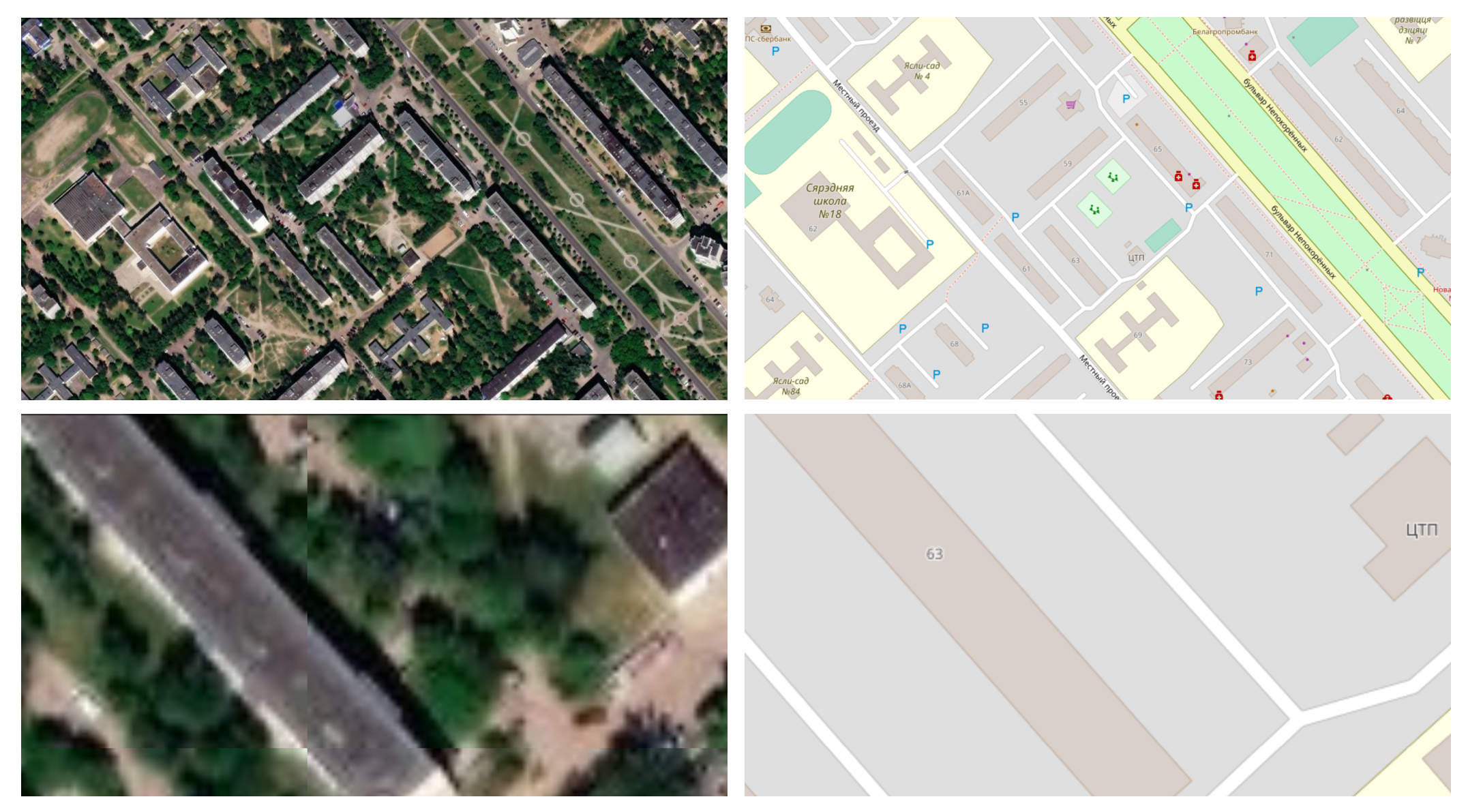 Raster map data from Esri World Imagery (on the left), and vector map data from OpenStreetMap (on the right), both showing Ilya's childhood neighborhood in Mogilev, Belarus. Zooming into raster map data makes it fuzzier, while vector map data retains its sharpness.