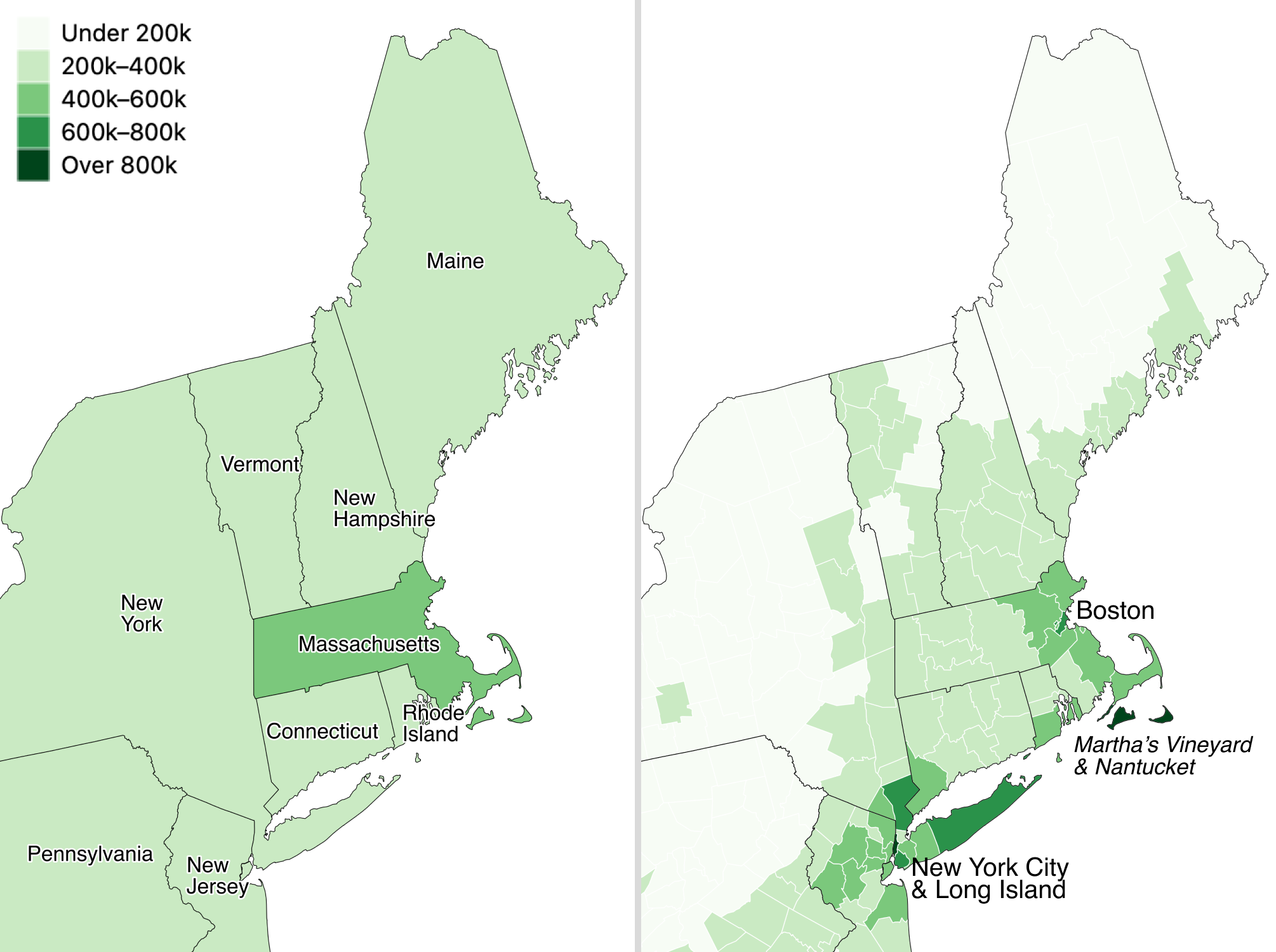 Zillow typical home values in September 2020 shown at the larger state level (left) versus the smaller county level (right).
