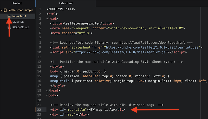 Atom Editor opens your repo as a project, where you can click files to view code. Edit your map title.