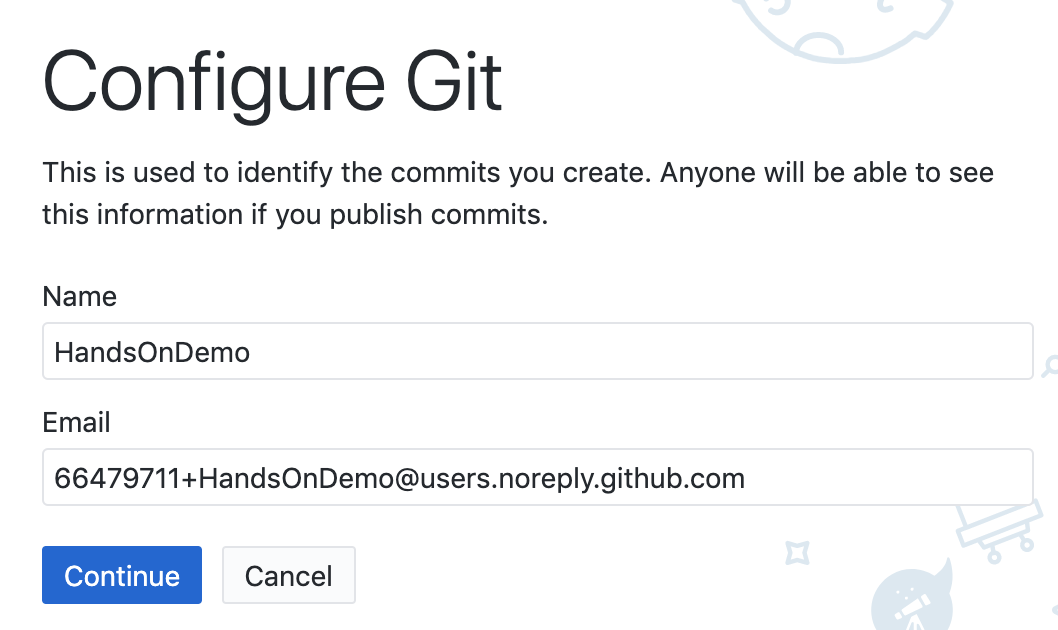 Click the Continue button to authorize GitHub Desktop to send commits to your GitHub account.