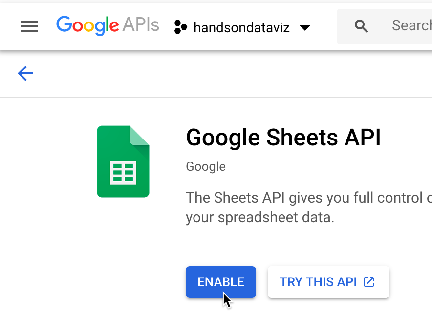 Select the Enable button for Google Sheets API.