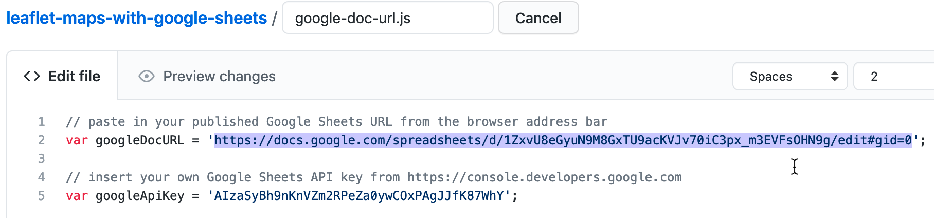 Paste in your Google Sheet URL to replace our URL.