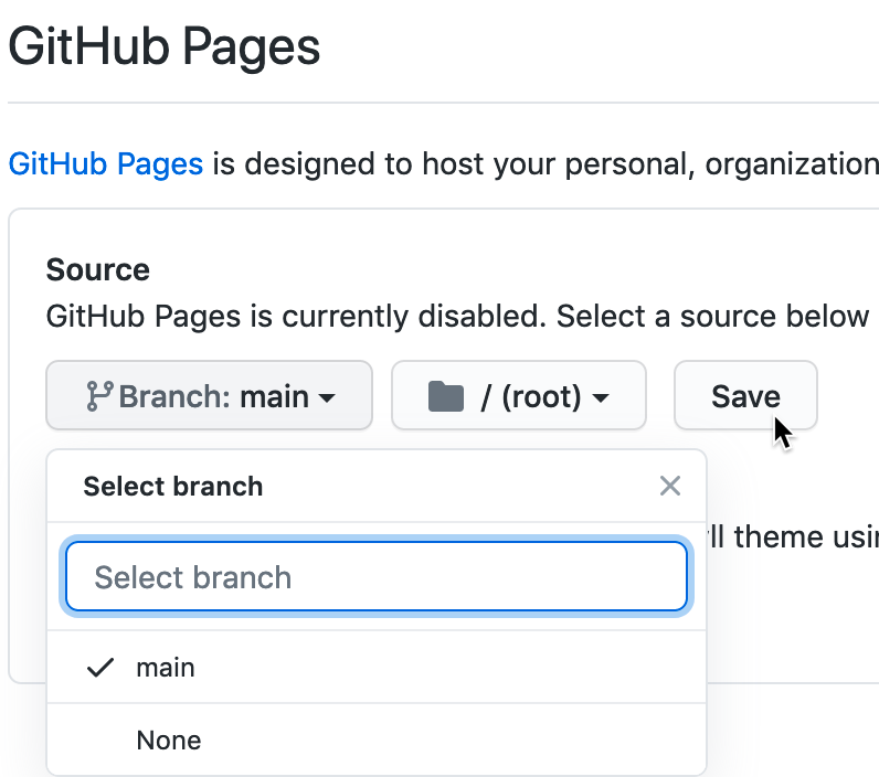 In Settings, go to GitHub Pages, switch the source from None to Main, and Save.