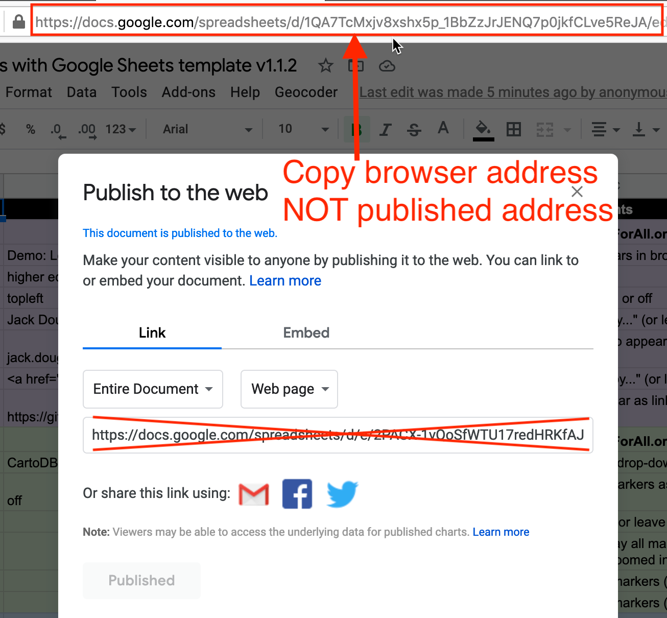 Copy the Google Sheet address at the top of the browser, NOT the Publish to the web address.