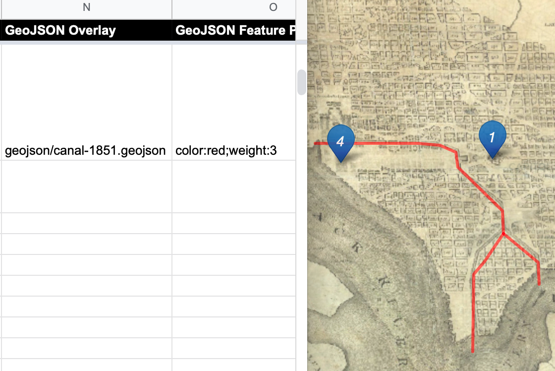 Enter the pathname in the GeoJSON Overlay column (on left) to display it in one or more storymap chapters (on right).