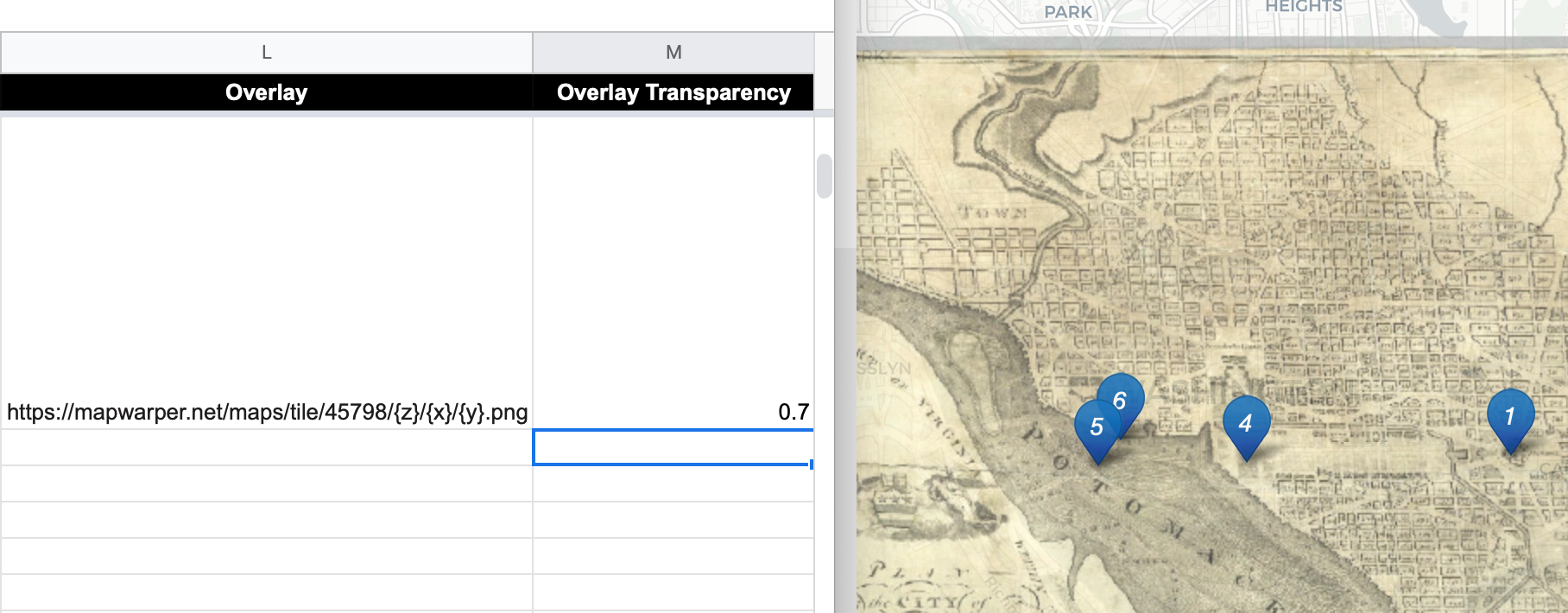 Enter map tile link and transparency level into the Google Sheet template (on left) to display it in one or more storymap chapters (on right).