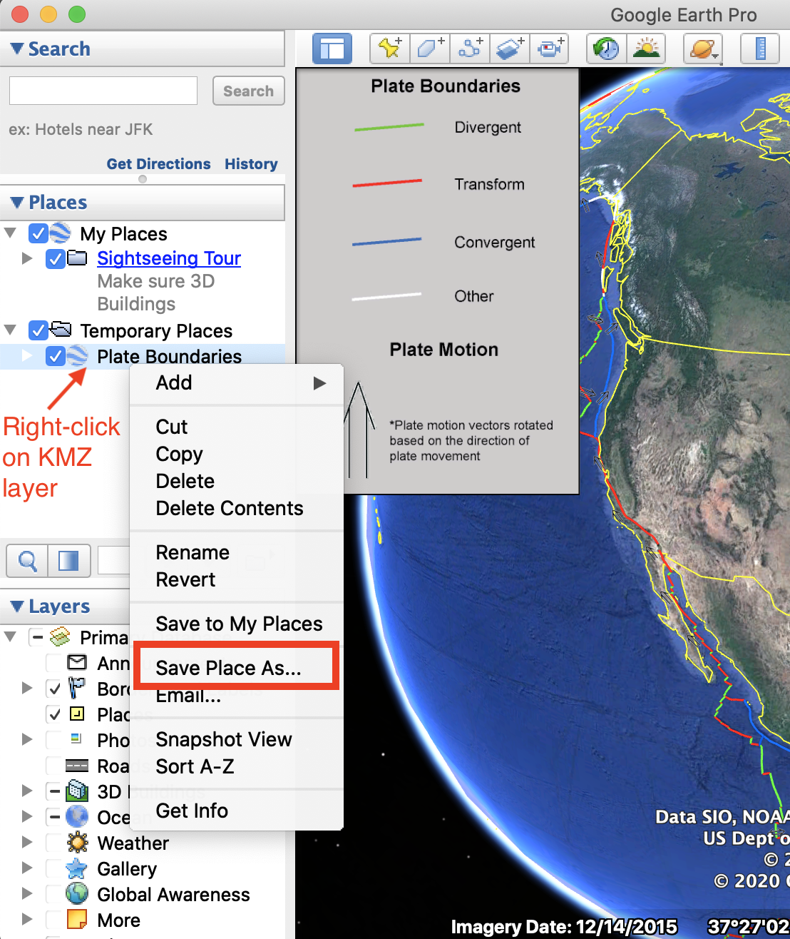 In Google Earth Pro, right-click the KMZ layer and choose Save Place As.