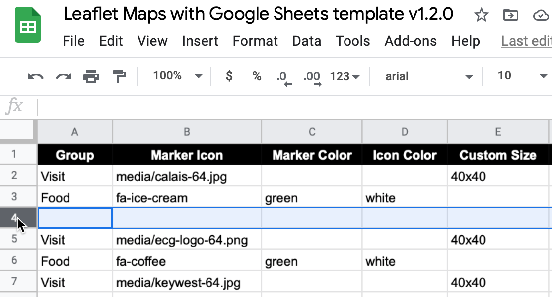 Avoid leaving blank rows in Google Sheets data files for Leaflet code templates.