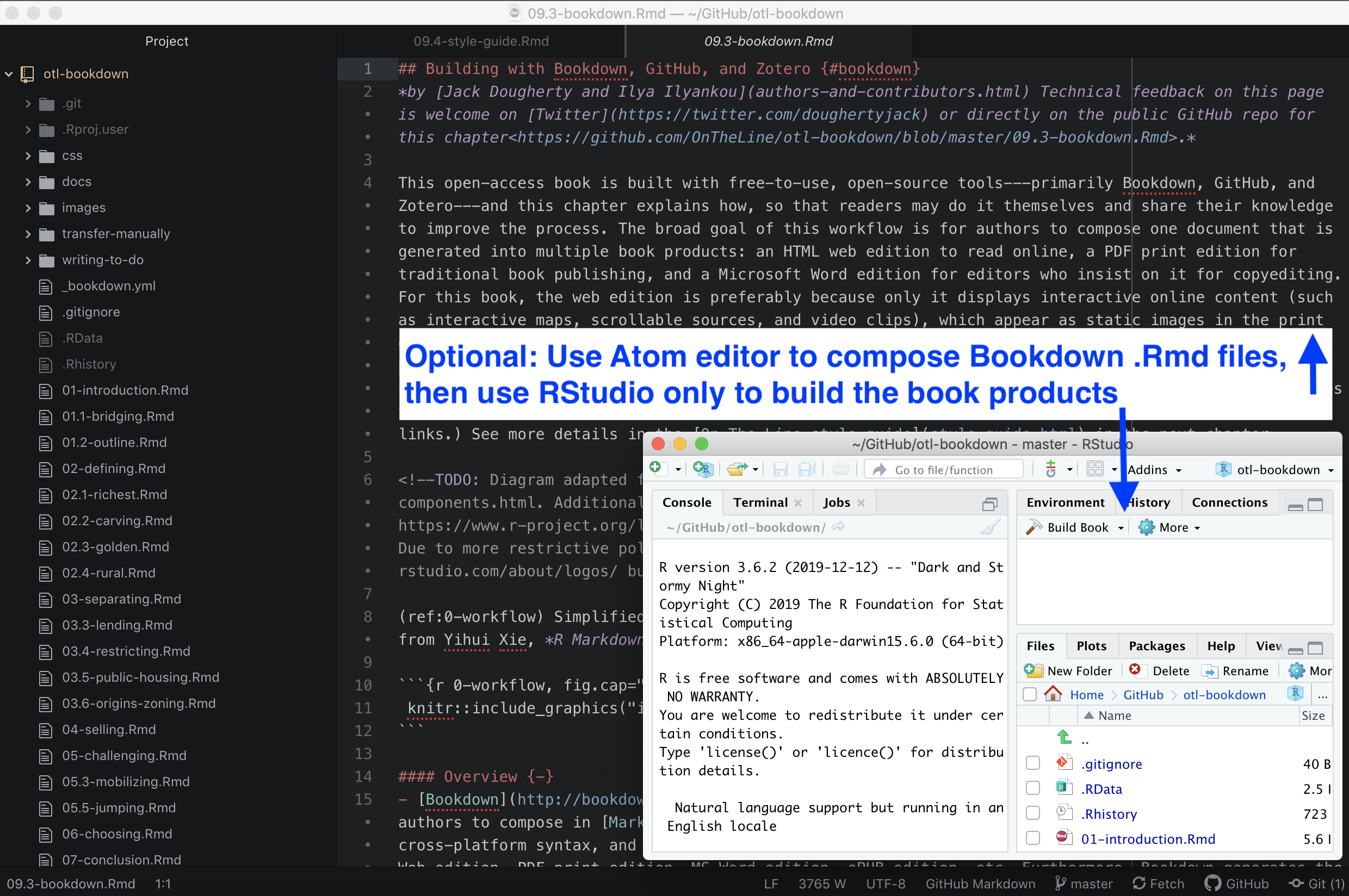 Variation on the workflow above: Compose the text in your preferred editor (such as Atom), and use RStudio only to build the book products.